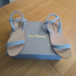 Anne Thomas Blue suede sandals